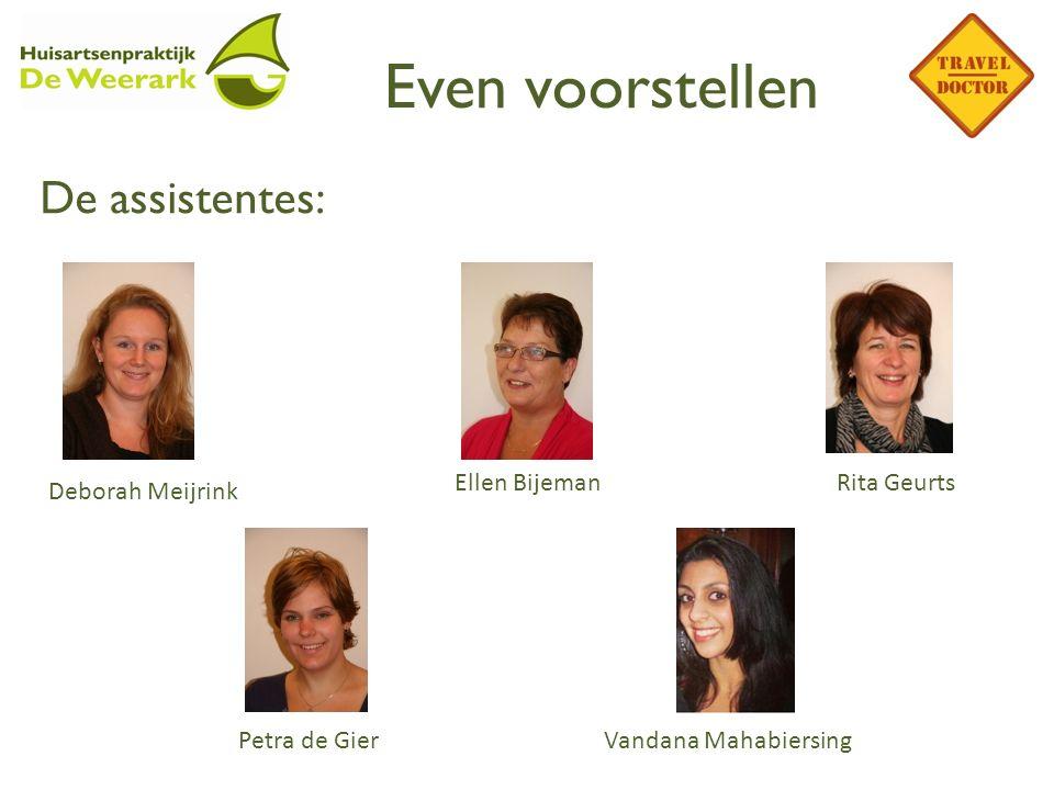 Even voorstellen De assistentes: Deborah Meijrink Ellen BijemanRita Geurts Petra de GierVandana Mahabiersing