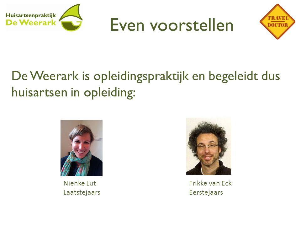 Even voorstellen De Weerark is opleidingspraktijk en begeleidt dus huisartsen in opleiding: Nienke Lut Laatstejaars Frikke van Eck Eerstejaars