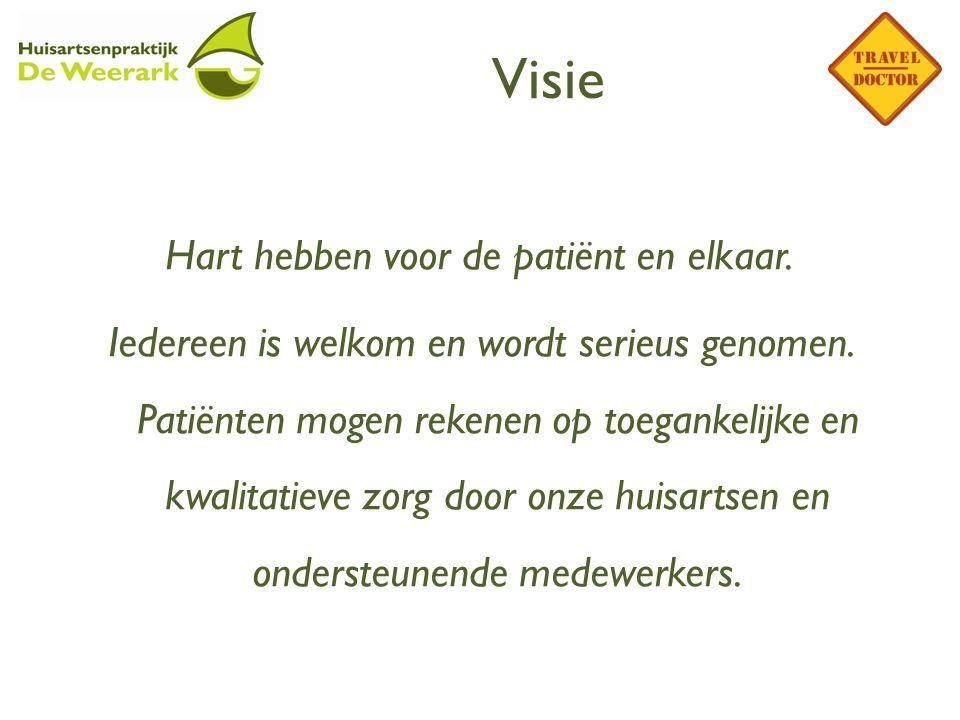 Visie Hart hebben voor de patiënt en elkaar. Iedereen is welkom en wordt serieus genomen. Patiënten mogen rekenen op toegankelijke en kwalitatieve zor