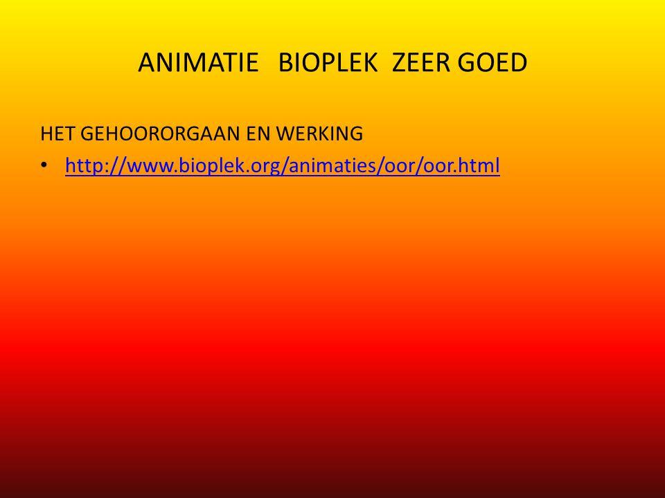 ANIMATIE BIOPLEK ZEER GOED HET GEHOORORGAAN EN WERKING http://www.bioplek.org/animaties/oor/oor.html