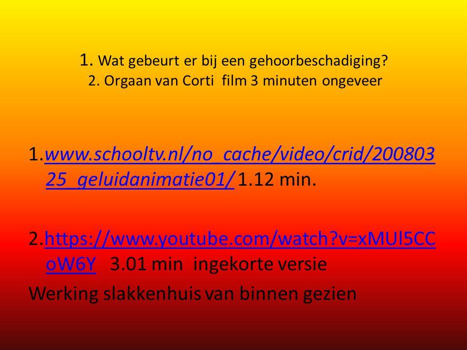 1. Wat gebeurt er bij een gehoorbeschadiging? 2. Orgaan van Corti film 3 minuten ongeveer 1.www.schooltv.nl/no_cache/video/crid/200803 25_geluidanimat