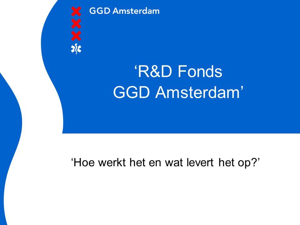 'R&D Fonds GGD Amsterdam' 'Hoe werkt het en wat levert het op?'