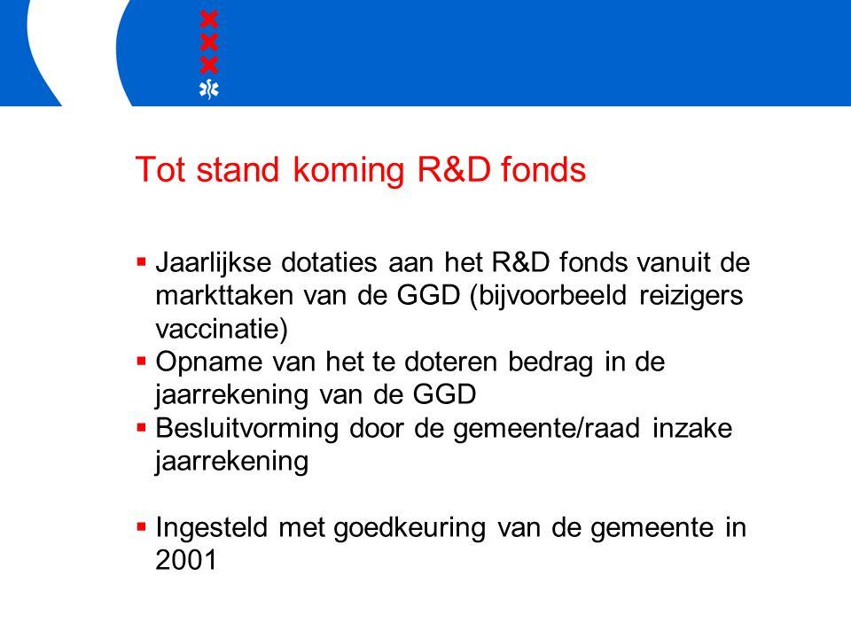 Tot stand koming R&D fonds  Jaarlijkse dotaties aan het R&D fonds vanuit de markttaken van de GGD (bijvoorbeeld reizigers vaccinatie)  Opname van het te doteren bedrag in de jaarrekening van de GGD  Besluitvorming door de gemeente/raad inzake jaarrekening  Ingesteld met goedkeuring van de gemeente in 2001