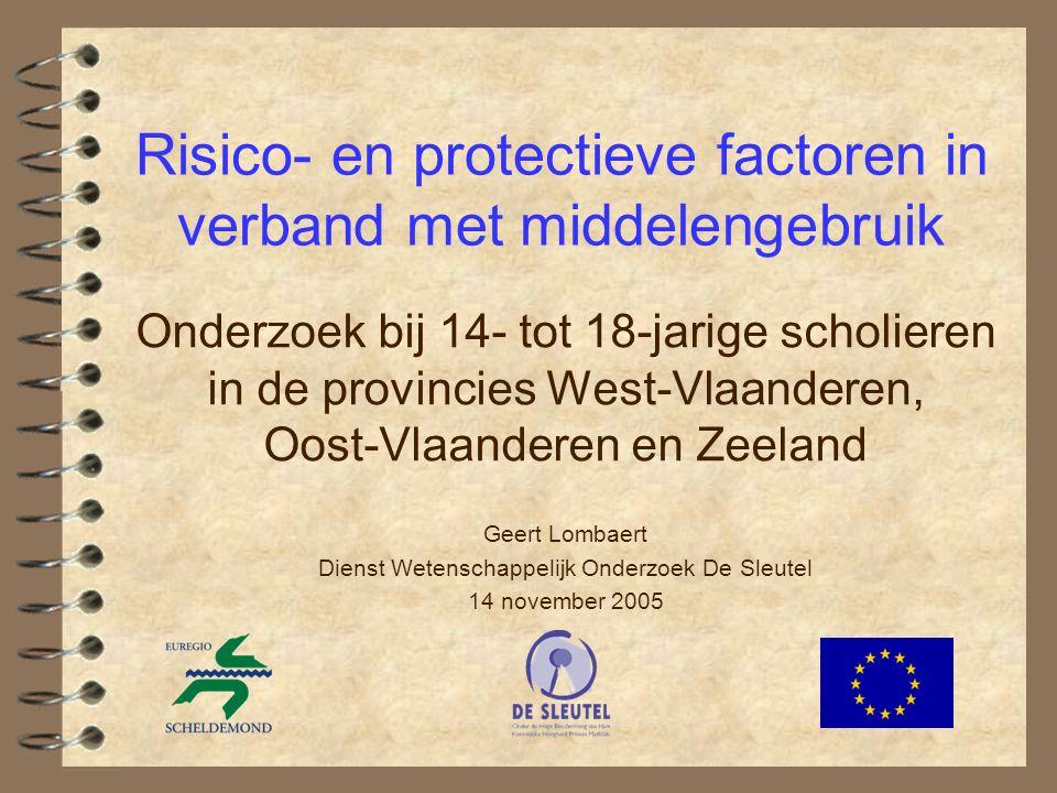 7 Doelstellingen  Representatieve en vergelijkbare gegevens verzamelen over middelengebruik van 14 à 18-jarige scholieren in West-Vlaanderen, Oost- Vlaanderen en Zeeland  Aanknopingspunten bieden voor preventie door analyse van de kenmerken en factoren die samenhangen met gebruik