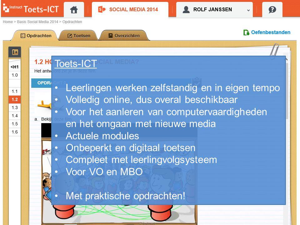 Toets-ICT Leerlingen werken zelfstandig en in eigen tempo Volledig online, dus overal beschikbaar Voor het aanleren van computervaardigheden en het om