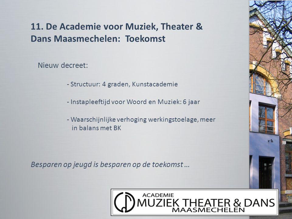 11. De Academie voor Muziek, Theater & Dans Maasmechelen: Toekomst Nieuw decreet: - Structuur: 4 graden, Kunstacademie - Instapleeftijd voor Woord en