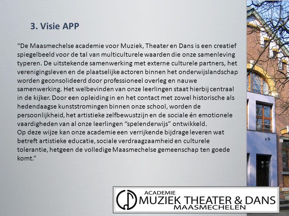 """3. Visie APP """"De Maasmechelse academie voor Muziek, Theater en Dans is een creatief spiegelbeeld voor de tal van multiculturele waarden die onze samen"""