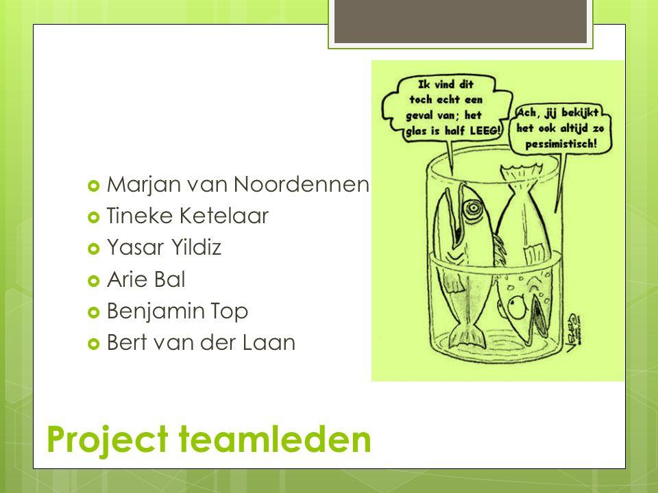 Project teamleden  Marjan van Noordennen  Tineke Ketelaar  Yasar Yildiz  Arie Bal  Benjamin Top  Bert van der Laan