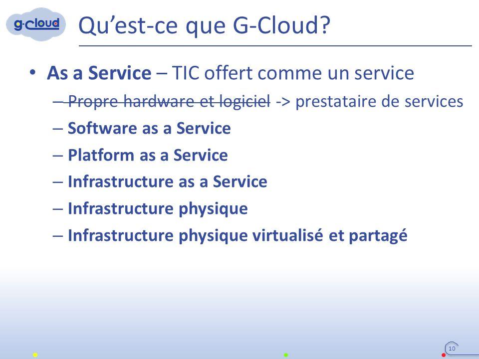 Qu'est-ce que G-Cloud? As a Service – TIC offert comme un service – Propre hardware et logiciel -> prestataire de services – Software as a Service – P