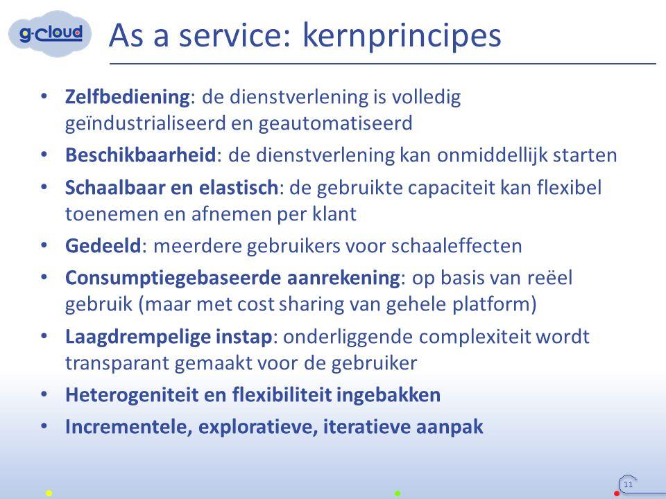 As a service: kernprincipes Zelfbediening: de dienstverlening is volledig geïndustrialiseerd en geautomatiseerd Beschikbaarheid: de dienstverlening ka