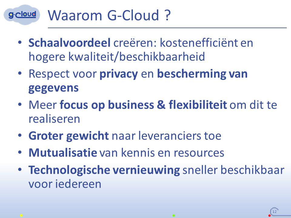 Waarom G-Cloud ? Schaalvoordeel creëren: kostenefficiënt en hogere kwaliteit/beschikbaarheid Respect voor privacy en bescherming van gegevens Meer foc