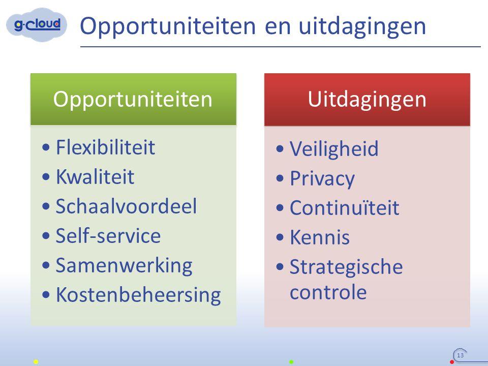 Opportuniteiten en uitdagingen 13 Uitdagingen Veiligheid Privacy Continuïteit Kennis Strategische controle Opportuniteiten Flexibiliteit Kwaliteit Sch