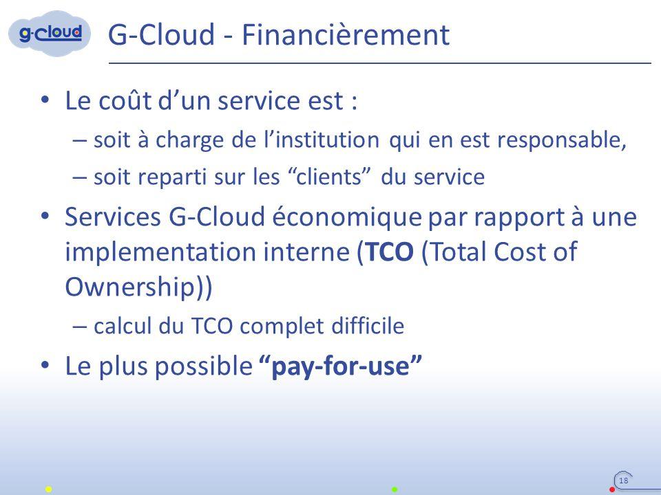 G-Cloud - Financièrement Le coût d'un service est : – soit à charge de l'institution qui en est responsable, – soit reparti sur les clients du service Services G-Cloud économique par rapport à une implementation interne (TCO (Total Cost of Ownership)) – calcul du TCO complet difficile Le plus possible pay-for-use 18