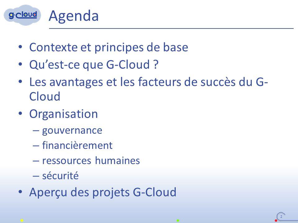 Agenda Contexte et principes de base Qu'est-ce que G-Cloud ? Les avantages et les facteurs de succès du G- Cloud Organisation – gouvernance – financiè
