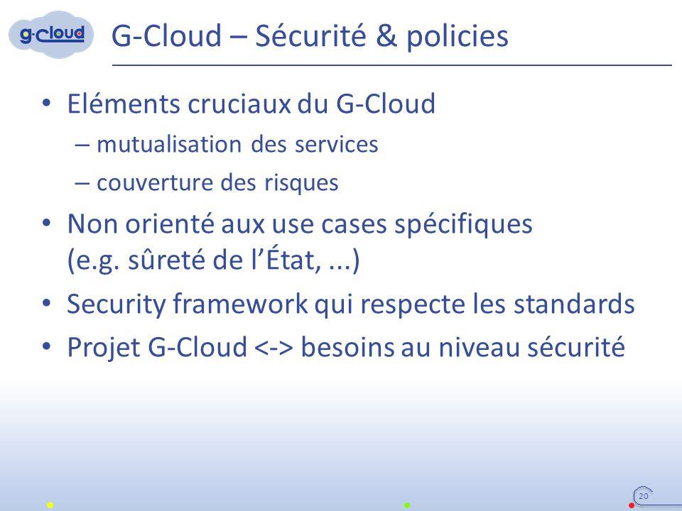 G-Cloud – Sécurité & policies Eléments cruciaux du G-Cloud – mutualisation des services – couverture des risques Non orienté aux use cases spécifiques (e.g.