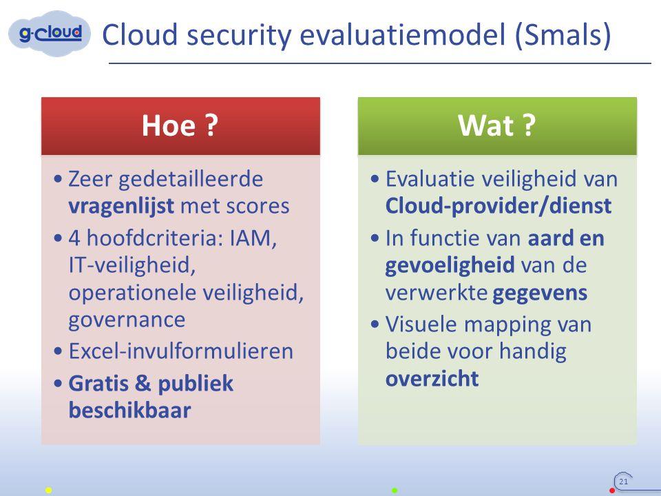 Cloud security evaluatiemodel (Smals) Hoe ? Zeer gedetailleerde vragenlijst met scores 4 hoofdcriteria: IAM, IT-veiligheid, operationele veiligheid, g