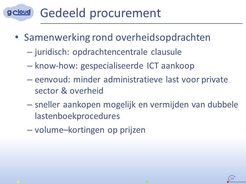 Gedeeld procurement Samenwerking rond overheidsopdrachten – juridisch: opdrachtencentrale clausule – know-how: gespecialiseerde ICT aankoop – eenvoud: