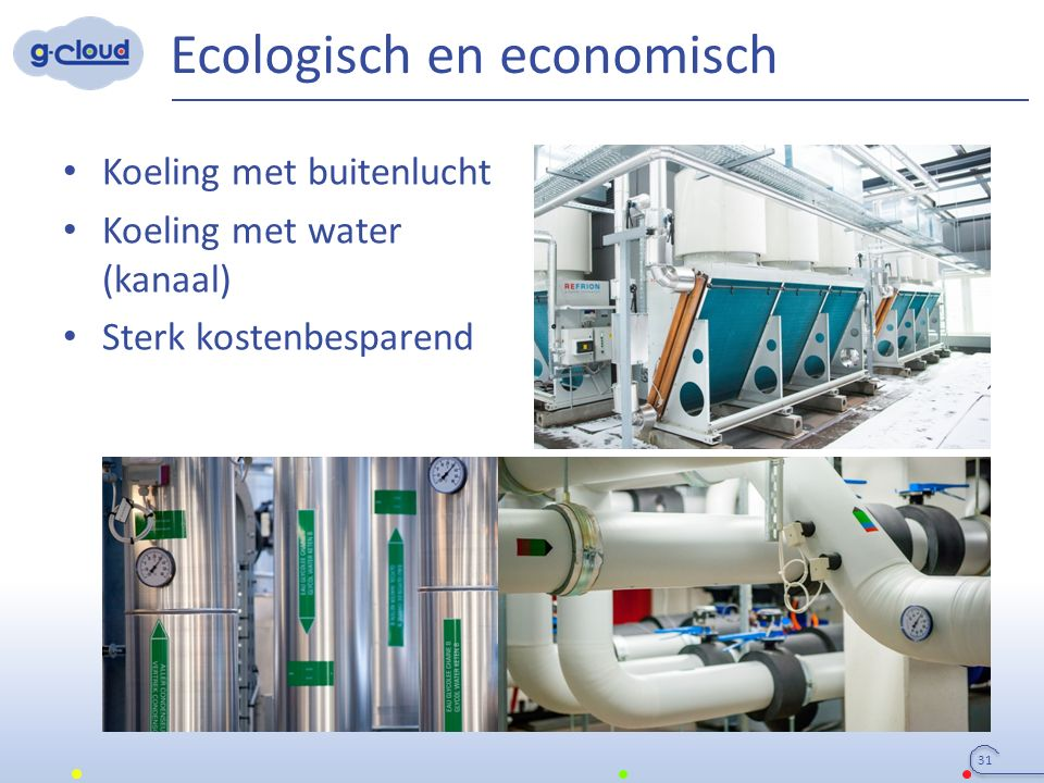 Ecologisch en economisch Koeling met buitenlucht Koeling met water (kanaal) Sterk kostenbesparend 31