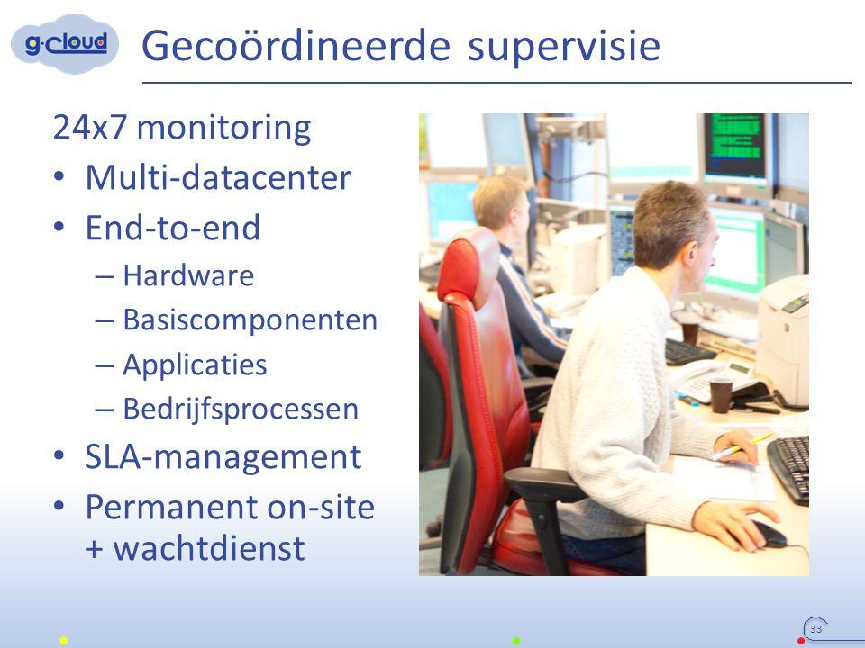 Gecoördineerde supervisie 24x7 monitoring Multi-datacenter End-to-end – Hardware – Basiscomponenten – Applicaties – Bedrijfsprocessen SLA-management P