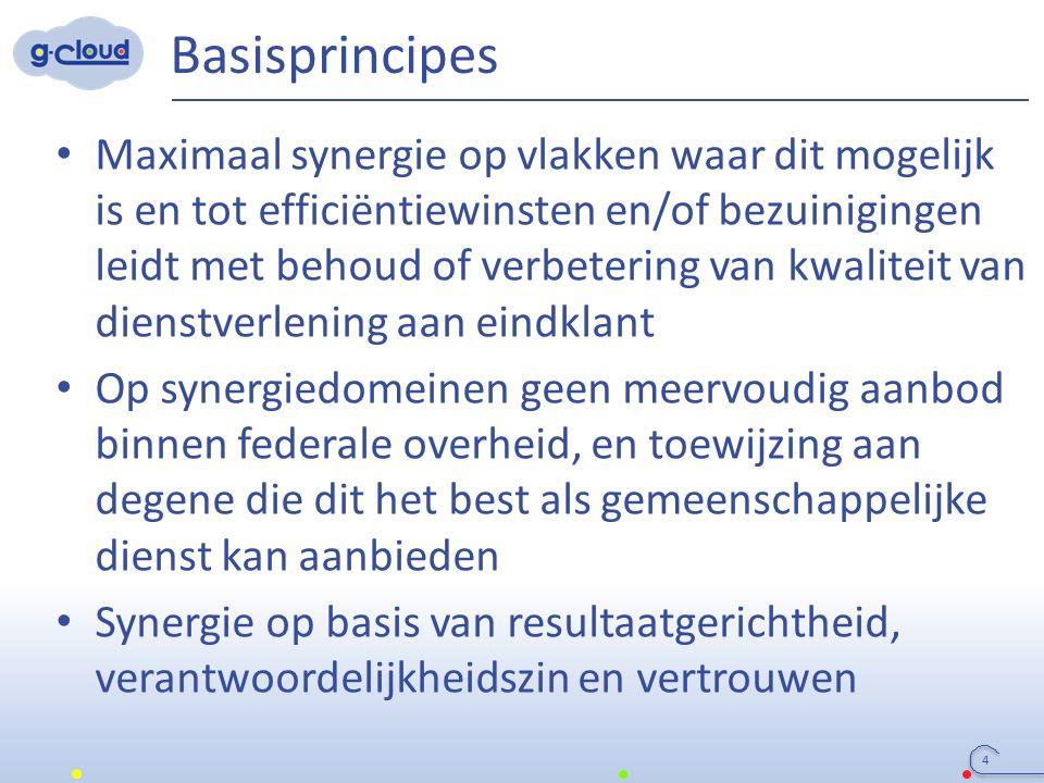 Basisprincipes 4 Maximaal synergie op vlakken waar dit mogelijk is en tot efficiëntiewinsten en/of bezuinigingen leidt met behoud of verbetering van k