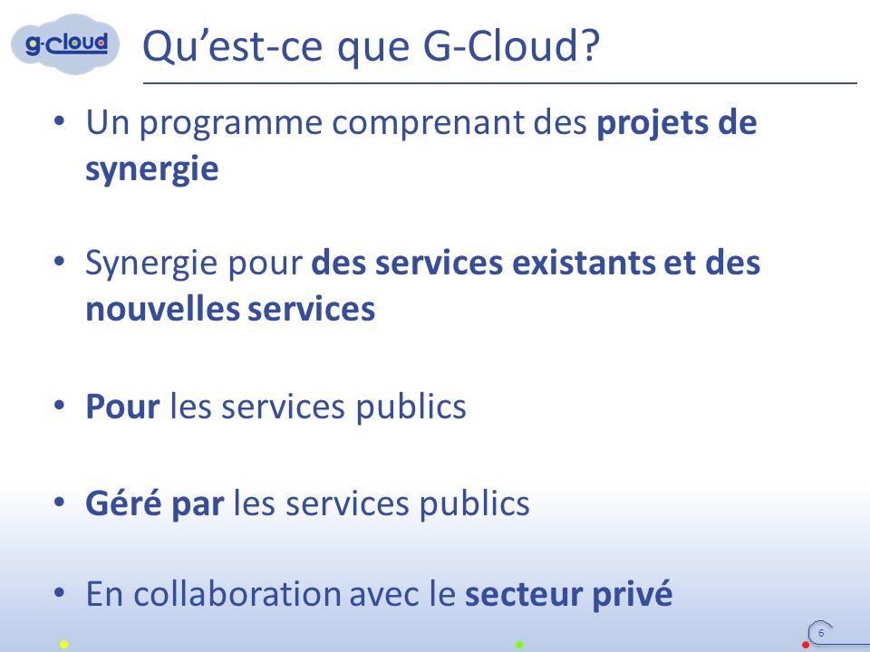 Qu'est-ce que G-Cloud? Un programme comprenant des projets de synergie Synergie pour des services existants et des nouvelles services Pour les service