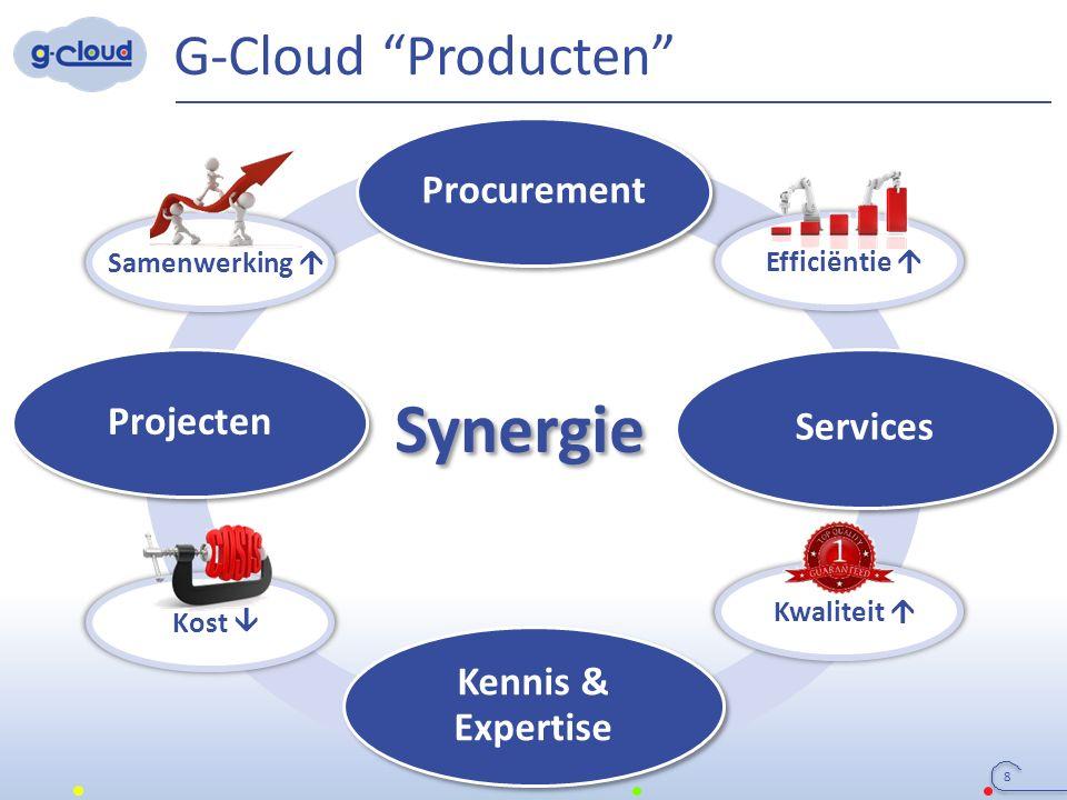"""Synergie G-Cloud """"Producten"""" 8 Procurement Services Projecten Kennis & Expertise Samenwerking  Efficiëntie  Kwaliteit  Kost """