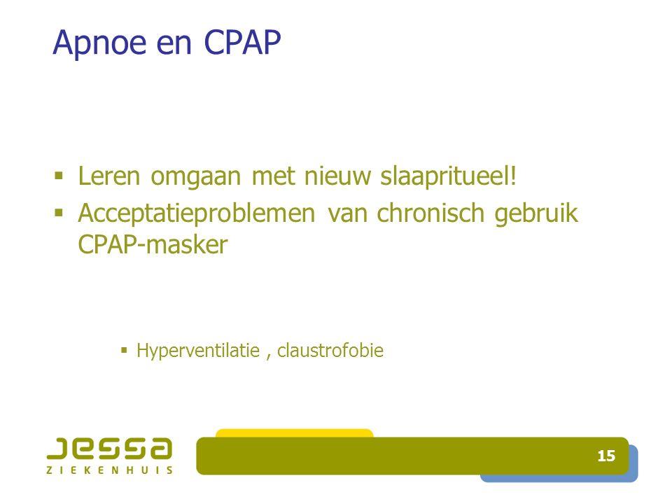 15 Apnoe en CPAP  Leren omgaan met nieuw slaapritueel.