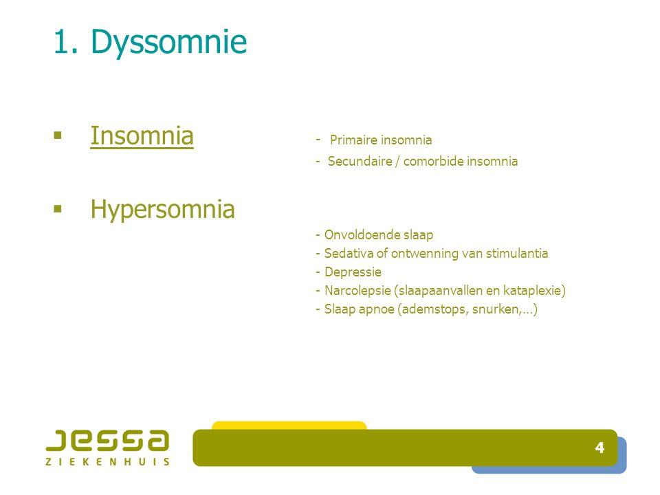 4 1. Dyssomnie  Insomnia - Primaire insomnia - Secundaire / comorbide insomnia  Hypersomnia - Onvoldoende slaap - Sedativa of ontwenning van stimula