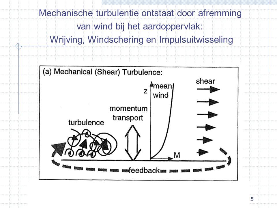 15 Mechanische turbulentie ontstaat door afremming van wind bij het aardoppervlak: Wrijving, Windschering en Impulsuitwisseling