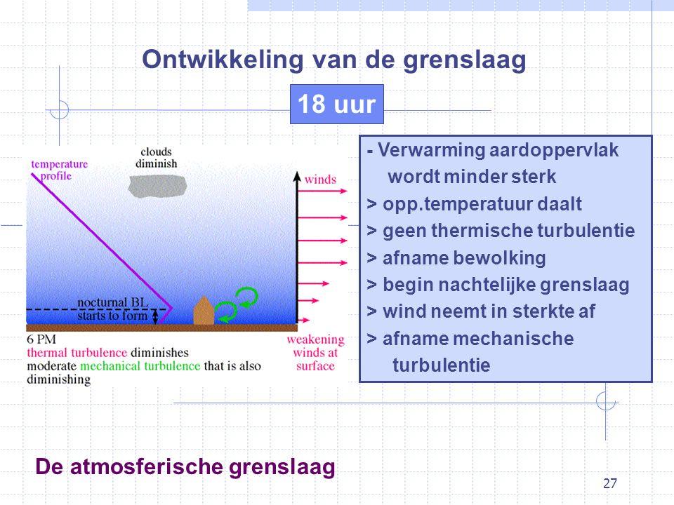 27 De atmosferische grenslaag Ontwikkeling van de grenslaag - Verwarming aardoppervlak wordt minder sterk > opp.temperatuur daalt > geen thermische tu