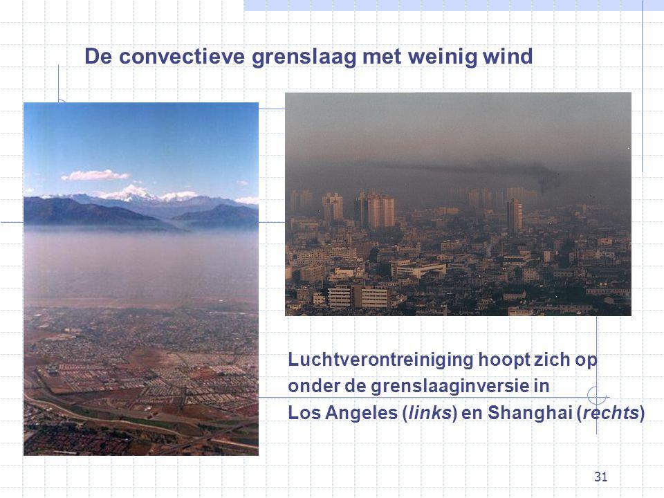 31 De convectieve grenslaag met weinig wind Luchtverontreiniging hoopt zich op onder de grenslaaginversie in Los Angeles (links) en Shanghai (rechts)