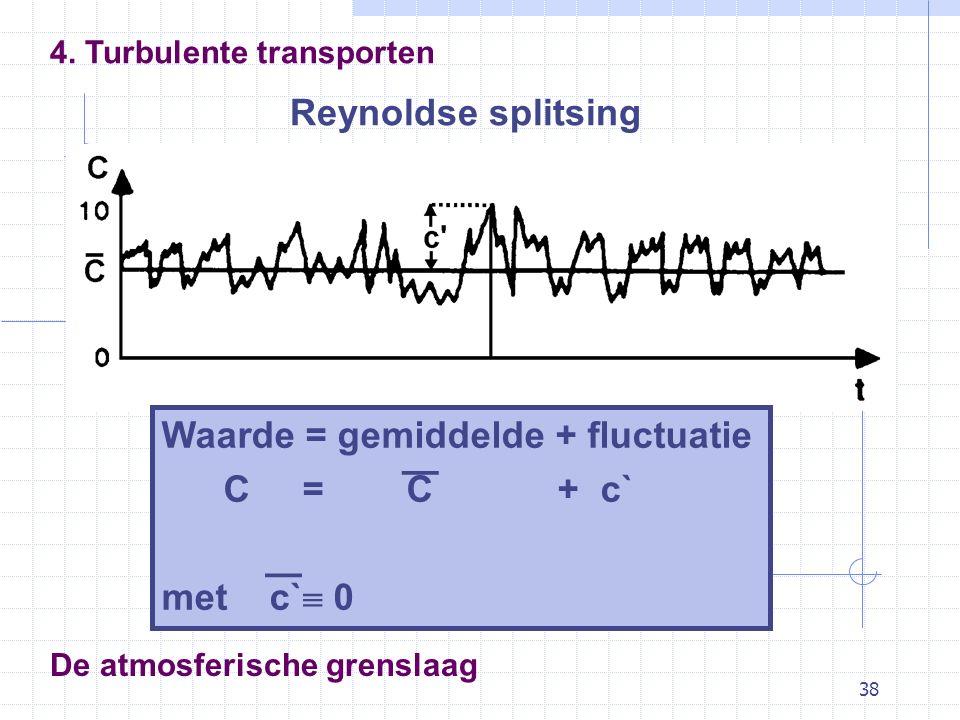 38 De atmosferische grenslaag Reynoldse splitsing 4. Turbulente transporten Waarde = gemiddelde + fluctuatie C = C + c` met c`  0 — —