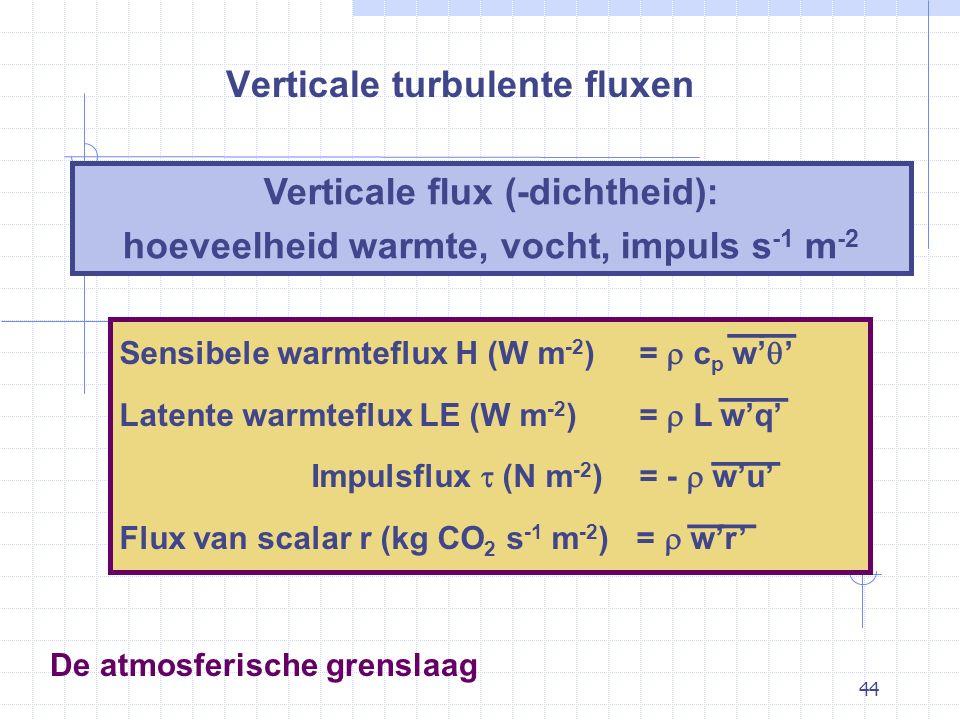 44 De atmosferische grenslaag Verticale turbulente fluxen Verticale flux (-dichtheid): hoeveelheid warmte, vocht, impuls s -1 m -2 Sensibele warmteflux H (W m -2 ) =  c p w'  ' Latente warmteflux LE (W m -2 ) =  L w'q' Impulsflux  (N m -2 ) = -  w'u' Flux van scalar r (kg CO 2 s -1 m -2 ) =  w'r' —— — — — — — —
