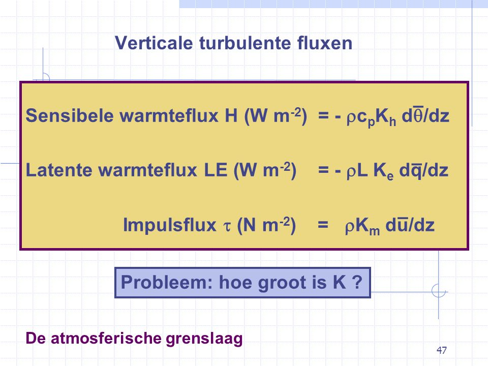 47 De atmosferische grenslaag Verticale turbulente fluxen Sensibele warmteflux H (W m -2 ) = -  c p K h d  /dz Latente warmteflux LE (W m -2 ) = -  L K e dq/dz Impulsflux  (N m -2 ) =  K m du/dz – – – Probleem: hoe groot is K ?