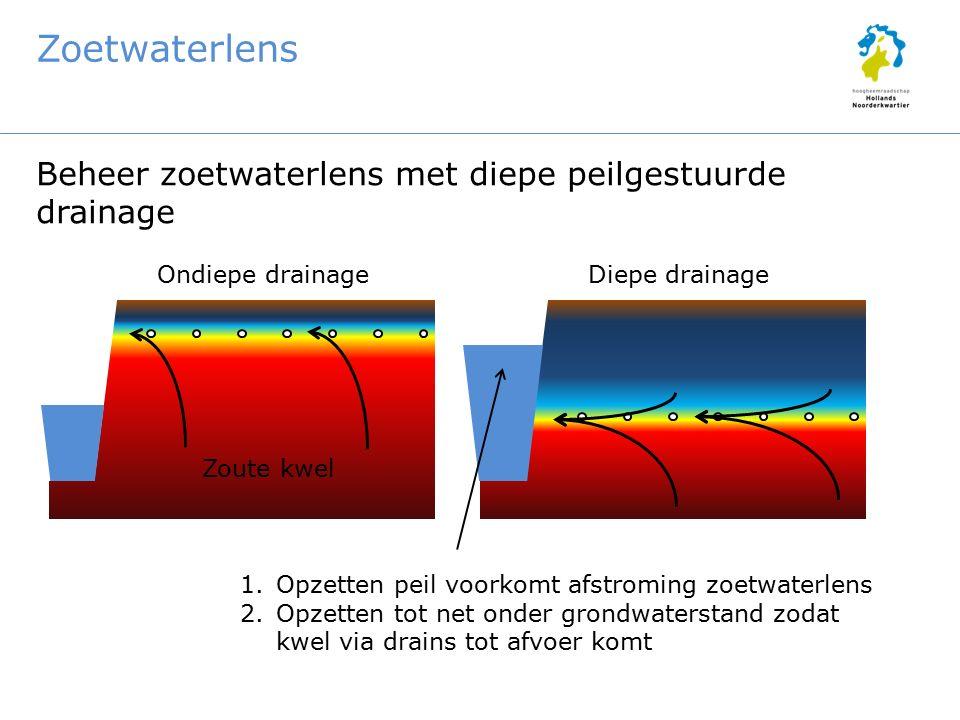 Zoetwaterlens Beheer zoetwaterlens met diepe peilgestuurde drainage Ondiepe drainageDiepe drainage 1.Opzetten peil voorkomt afstroming zoetwaterlens 2