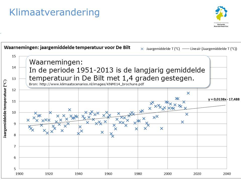 Klimaatverandering KNMI'14-klimaatscenario's (2050): G L : T+1,0 °C G H : T+1,5 °C W L : T+2,0 °C W H : T+2,3 °C tov 1981-2010 KNMI'06-klimaatscenario