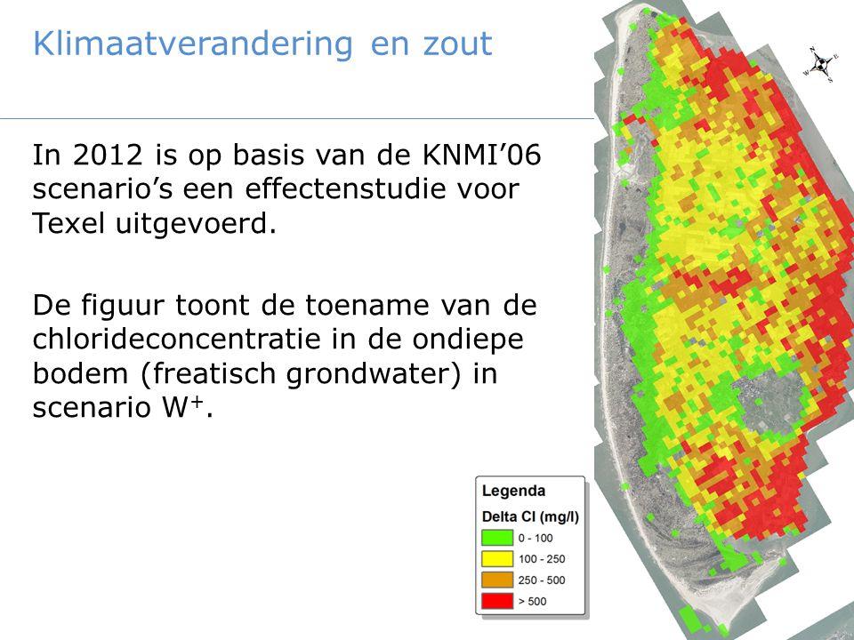 Klimaatverandering en zout In 2012 is op basis van de KNMI'06 scenario's een effectenstudie voor Texel uitgevoerd. De figuur toont de toename van de c