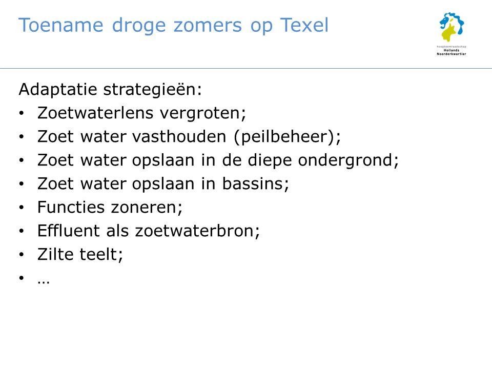 Toename droge zomers op Texel Adaptatie strategieën: Zoetwaterlens vergroten; Zoet water vasthouden (peilbeheer); Zoet water opslaan in de diepe onder