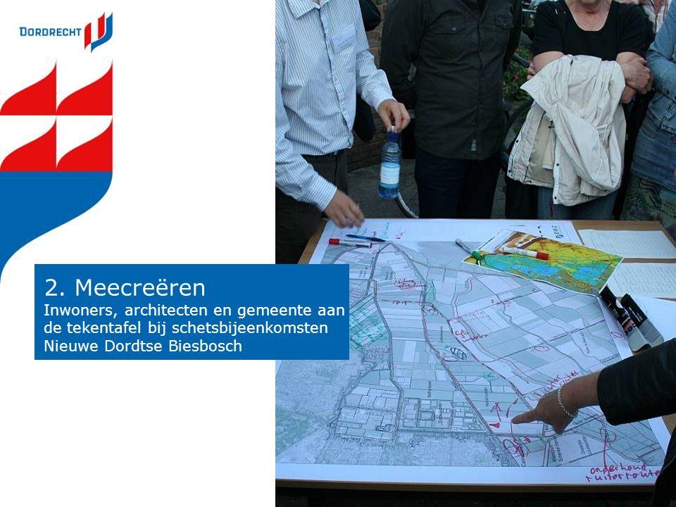 2. Meecreëren Inwoners, architecten en gemeente aan de tekentafel bij schetsbijeenkomsten Nieuwe Dordtse Biesbosch