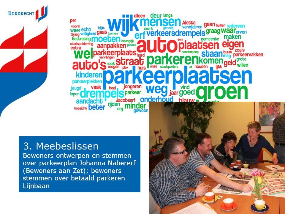 3. Meebeslissen Bewoners ontwerpen en stemmen over parkeerplan Johanna Nabererf (Bewoners aan Zet); bewoners stemmen over betaald parkeren Lijnbaan