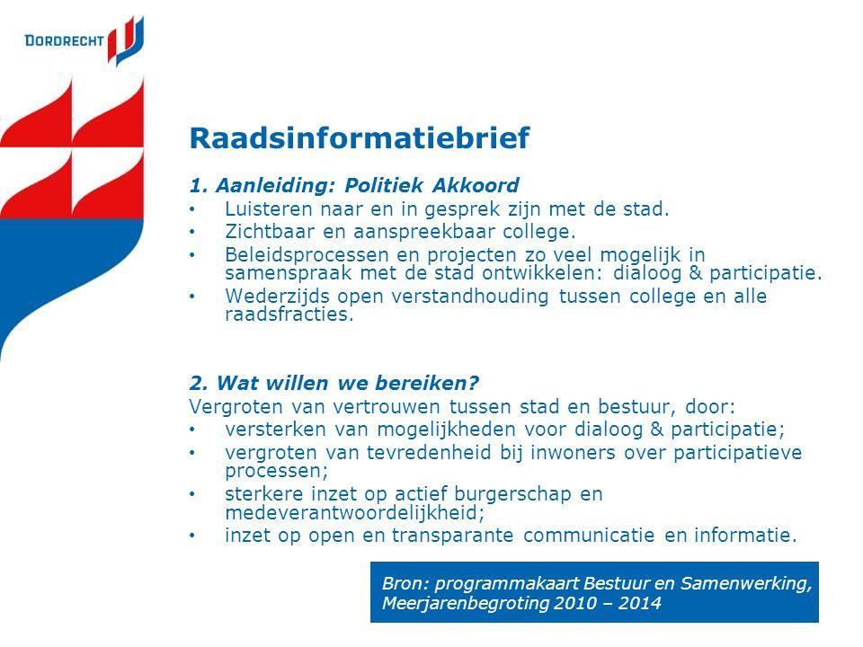 Raadsinformatiebrief 1. Aanleiding: Politiek Akkoord Luisteren naar en in gesprek zijn met de stad.