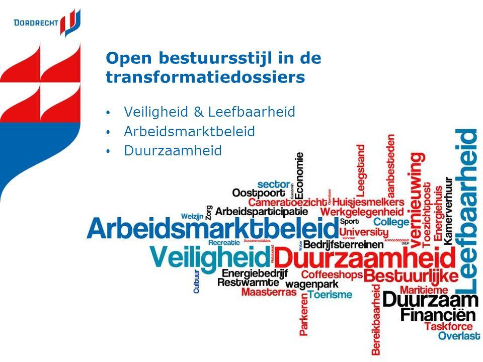 Open bestuursstijl in de transformatiedossiers Veiligheid & Leefbaarheid Arbeidsmarktbeleid Duurzaamheid