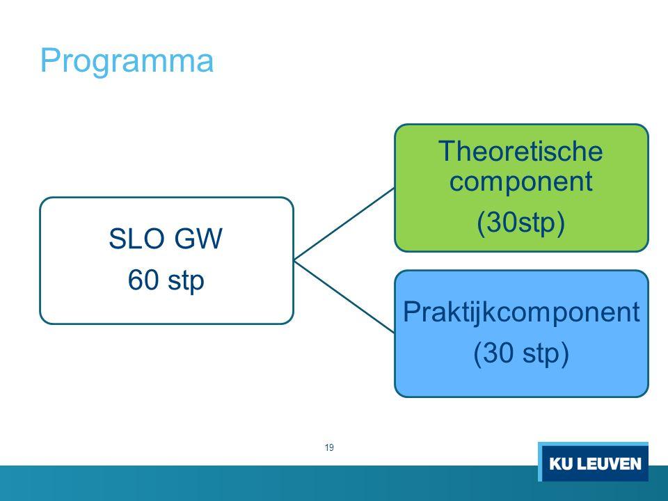 Programma 19 SLO GW 60 stp Theoretische component (30stp) Praktijkcomponent (30 stp)