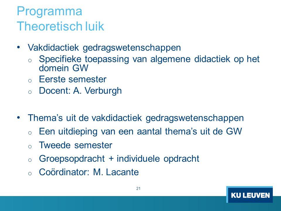 Programma Theoretisch luik 21 Vakdidactiek gedragswetenschappen o Specifieke toepassing van algemene didactiek op het domein GW o Eerste semester o Docent: A.