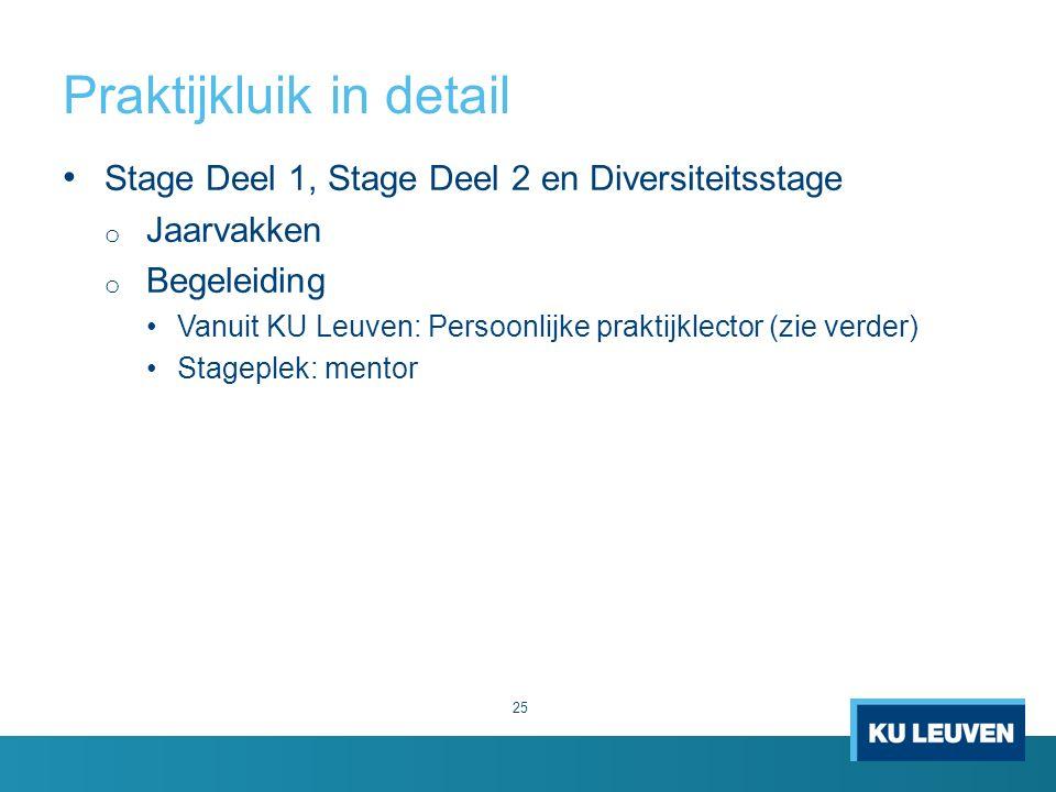 Praktijkluik in detail 25 Stage Deel 1, Stage Deel 2 en Diversiteitsstage o Jaarvakken o Begeleiding Vanuit KU Leuven: Persoonlijke praktijklector (zie verder) Stageplek: mentor