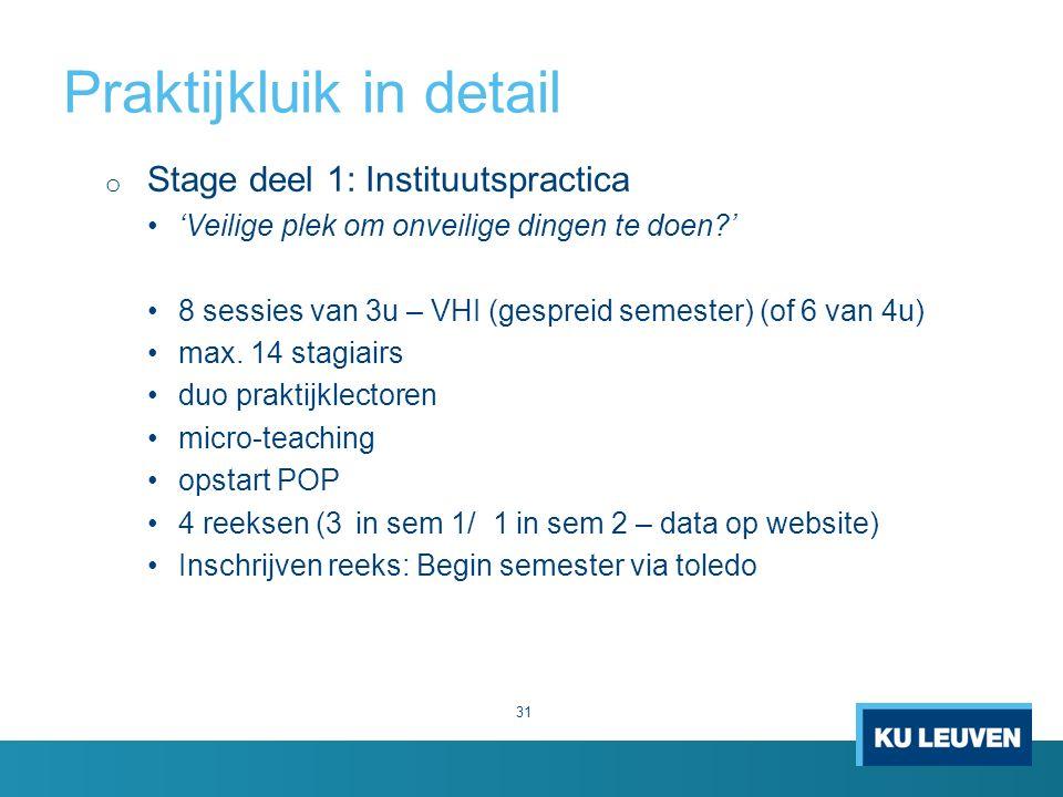 Praktijkluik in detail 31 o Stage deel 1: Instituutspractica 'Veilige plek om onveilige dingen te doen ' 8 sessies van 3u – VHI (gespreid semester) (of 6 van 4u) max.