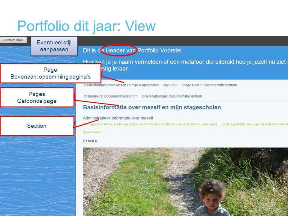 Portfolio dit jaar: View Page Bovenaan: opsomming pagina's Pages Getoonde page Section Eventueel stijl aanpassen