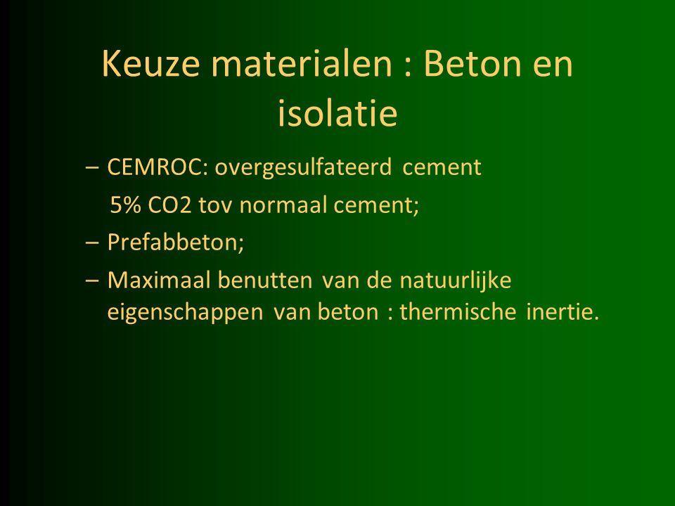 Keuze materialen : Beton en isolatie –CEMROC: overgesulfateerd cement 5% CO2 tov normaal cement; –Prefabbeton; –Maximaal benutten van de natuurlijke eigenschappen van beton : thermische inertie.