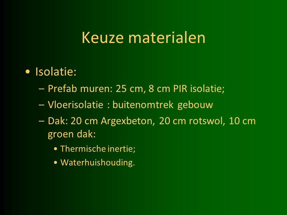 Keuze materialen Isolatie: –Prefab muren: 25 cm, 8 cm PIR isolatie; –Vloerisolatie : buitenomtrek gebouw –Dak: 20 cm Argexbeton, 20 cm rotswol, 10 cm groen dak: Thermische inertie; Waterhuishouding.