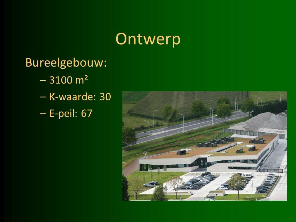 Ontwerp Bureelgebouw: –3100 m² –K-waarde: 30 –E-peil: 67